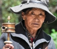 Tibet Woman & Prayer Wheel
