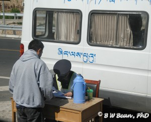 "Roadside ""papers check"" enroute from Lhasa airport into the city"