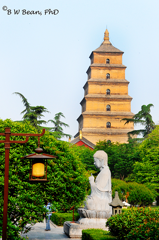 Buddha & Great Goose Pagoda, Xian, China. bwb-images
