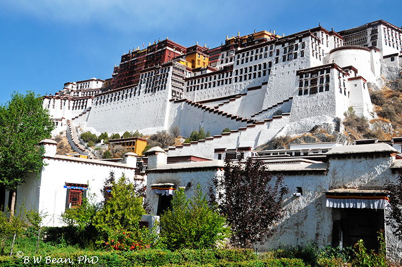 Potala Palace is reached by a long walk and many stairs