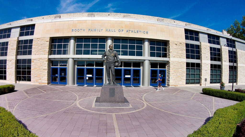 Statue and Entrance to Allen Fieldhouse via Booth