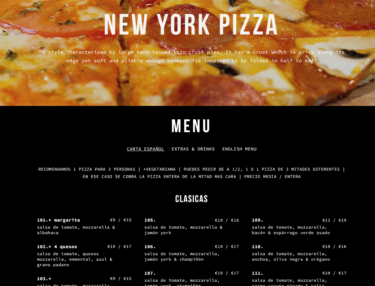 Barcelona pizza menu