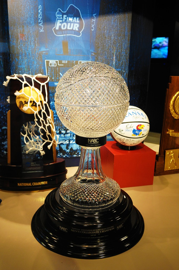 Part of the KU trophy collection including their most recent national championship