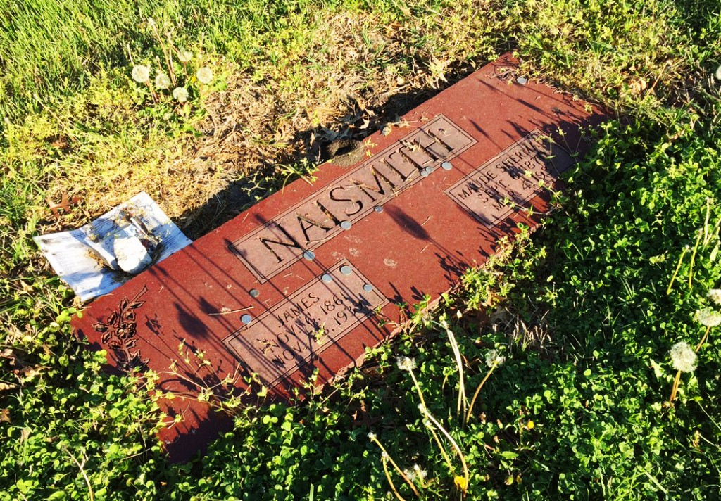James Naismith's unassuming grave stone in Lawrence, KS
